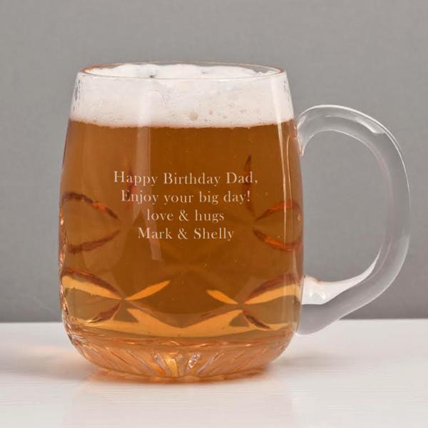 Personalised Barrel Crystal Pint Glass