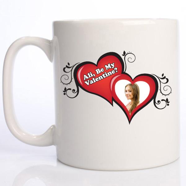Be My Valentine 2 Heart Photo Mug