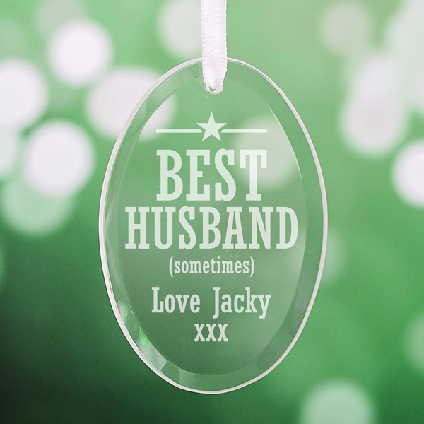 Personalised Best Husband Oval Hanging Glass Ornament - Husband Gifts
