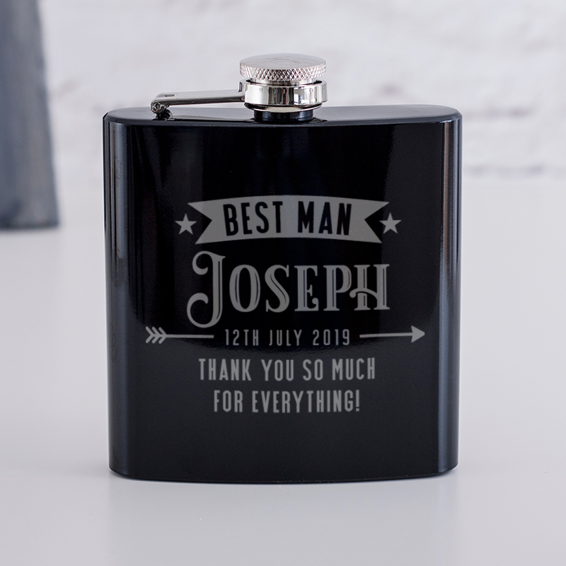 Metallic Blue personalised hip flask with your message or photo and message