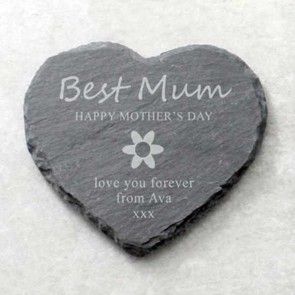 Best Mum Personalised Heart Shaped Slate Coaster