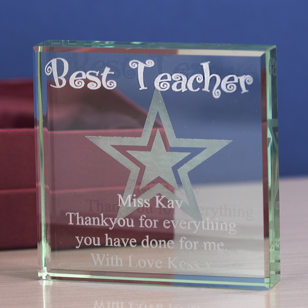 Best Teacher Personalised Glass Keepsake - Teacher Gifts