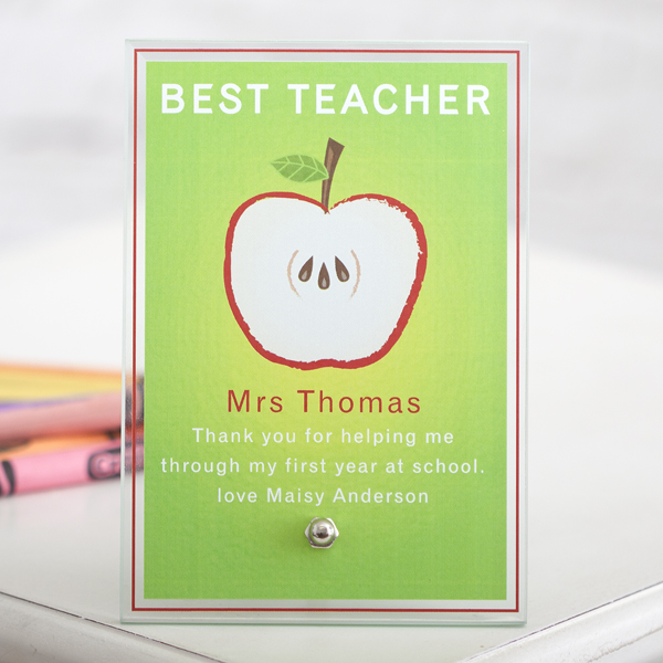 Best Teacher Personalised Glass Plaque