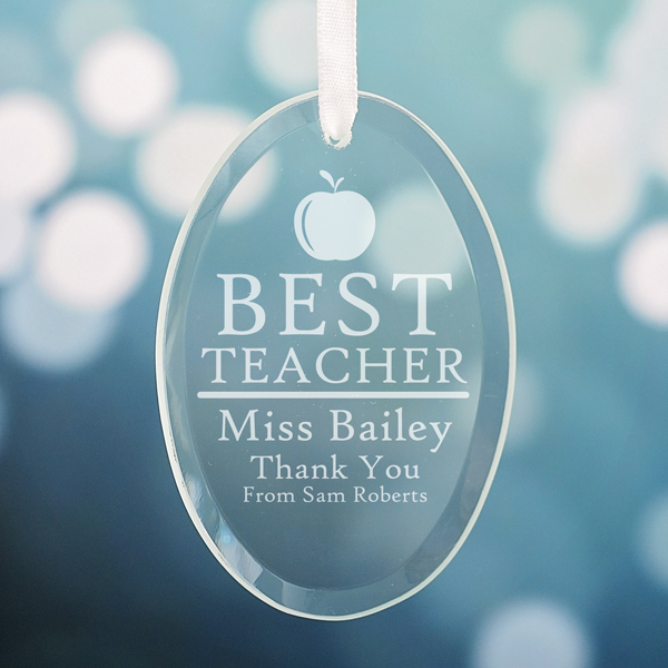 Personalised Best Teacher Oval Hanging Ornament - Ornament Gifts