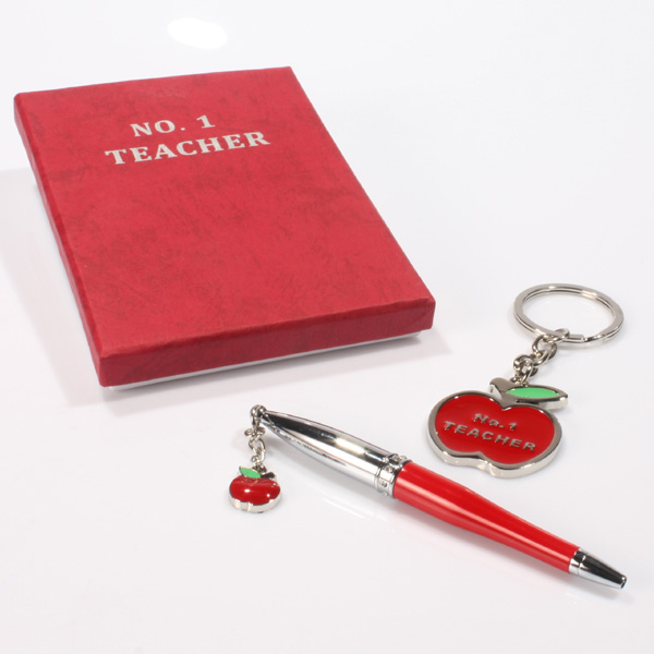 Personalised No.1 Teacher Pen and Keyring Gift Set - Teacher Gifts