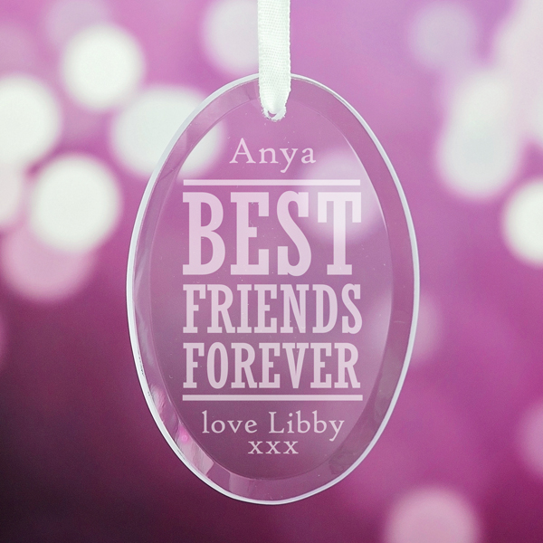 Personalised Best Friend Forever Oval Hanging Glass Ornament - Ornament Gifts