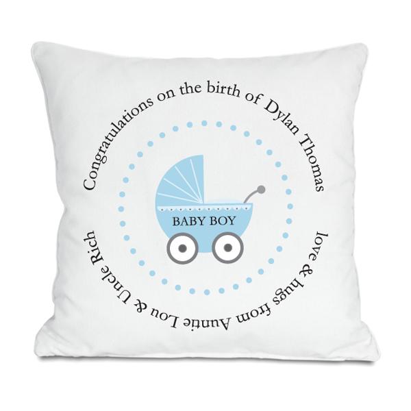 Personalised Baby Boy Birth Cushion - Baby Boy Gifts