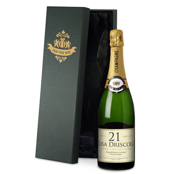 Personalised Birthday Champagne Gold Gift Carton