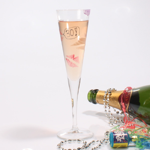 Special Birthday Kisses Flutes 30th