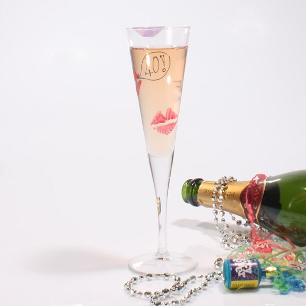 Special Birthday Kisses Flutes 40th