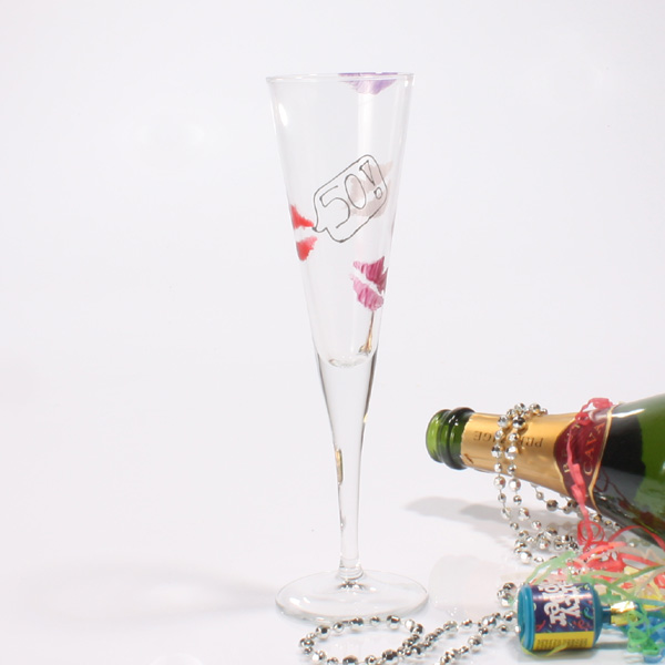Special Birthday Kisses Flutes 50th
