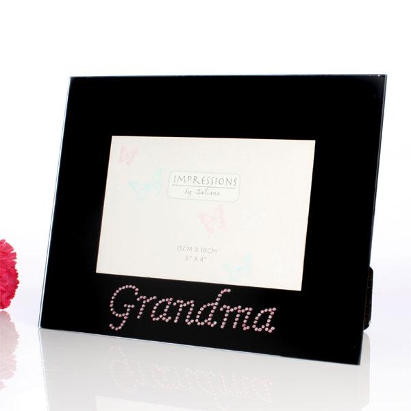 Black Glass Grandma Photo Frame - Grandma Gifts