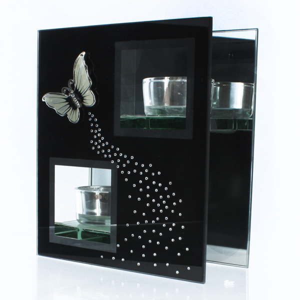 Black Glass Tea Light Holder with Butterfly - Butterfly Gifts