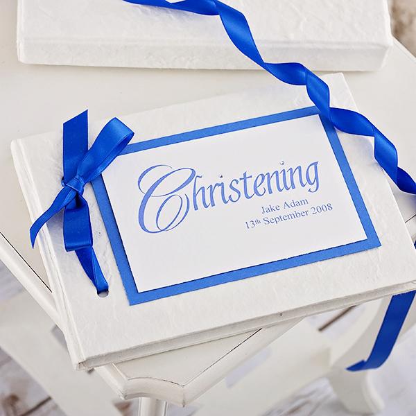 Personalised Handmade Christening Album  Blue Design