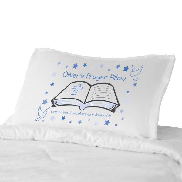 Personalised Prayer Pillowcase  Blue Or Pink