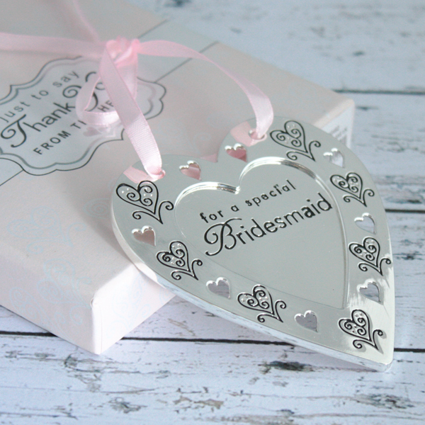 Bridesmaid Love & Cherish Silver plated Heart Plaque - Bridesmaid Gifts