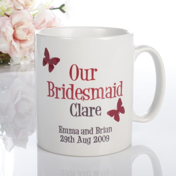 Personalised Bridesmaid Butterfly Mug Maid of Honour