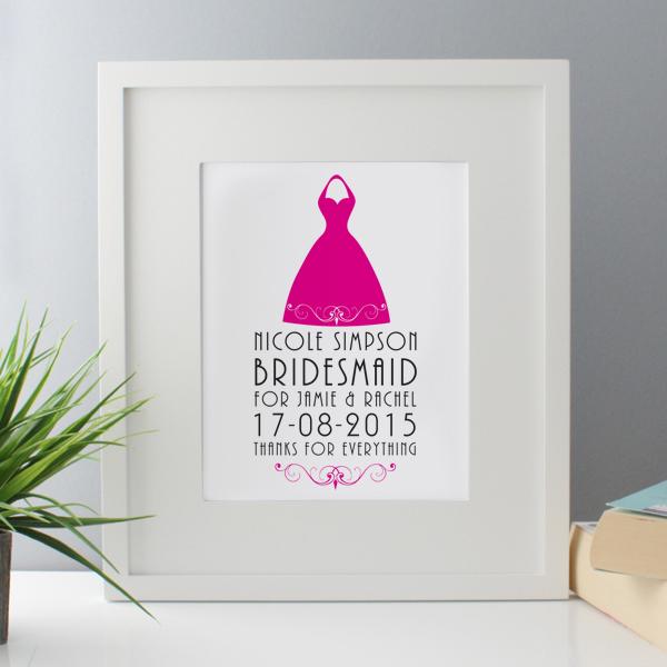 Personalised Bridesmaid Framed Print - Bridesmaid Gifts