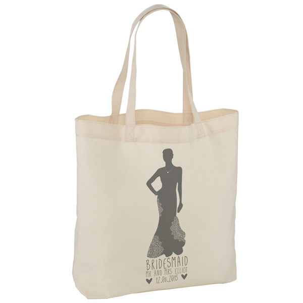 Personalised Bridesmaid Silhouette Tote Bag