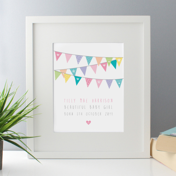 New Baby Girl Bunting Design Personalised Framed Print - Baby Girl Gifts