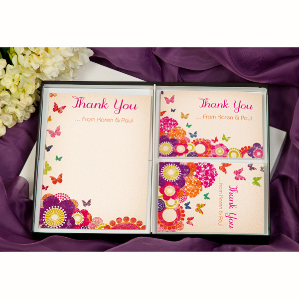 Butterfly & Flowers Personalised Thank You Stationery Cards - Stationery Gifts