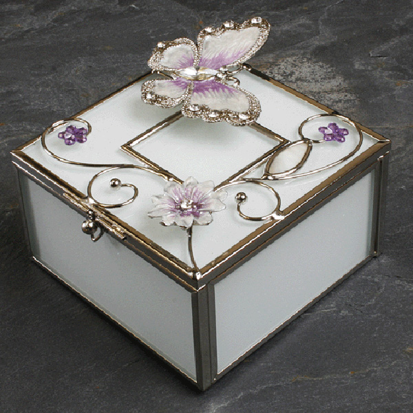 Butterfly and Flowers Trinket Box - Box Gifts