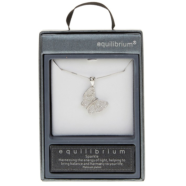 silver plated butterfly necklace in personalised box