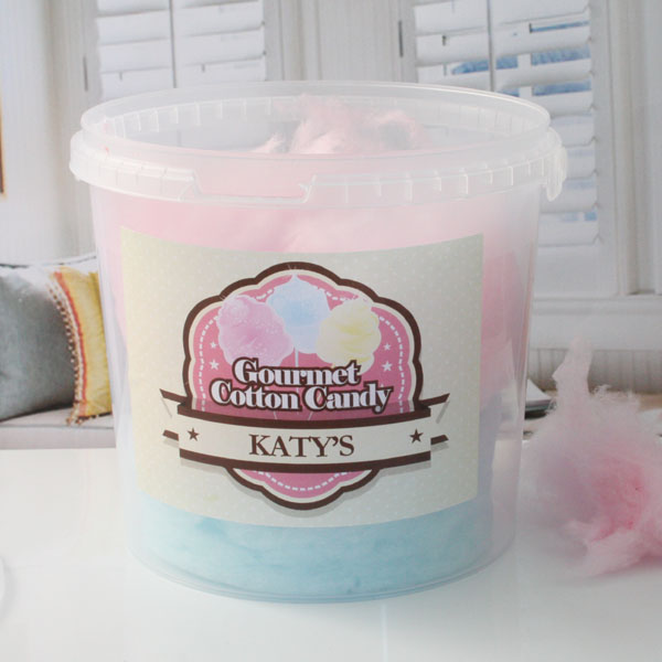 Personalised Bucket Of Candy Floss - 8 Flavours AppleandGrape - Cc391