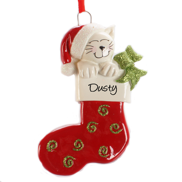 Personalised Cat In Stocking Hanging Ornament - Ornament Gifts