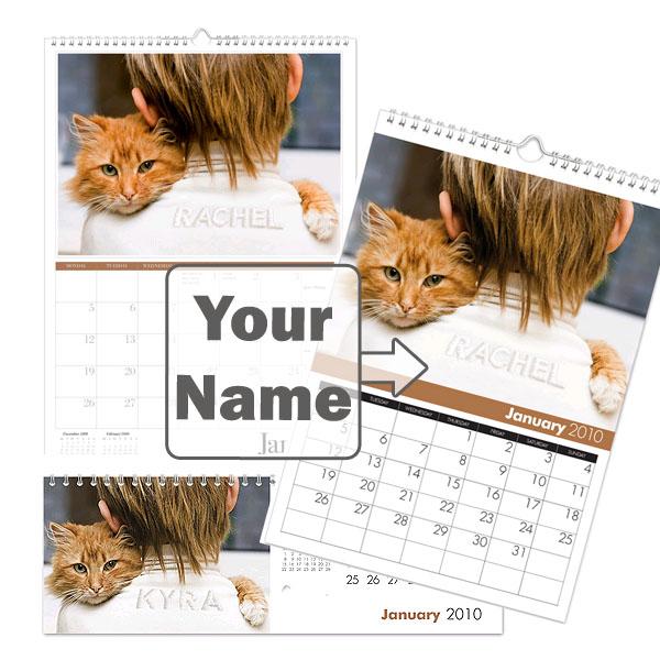 Personalised Cat Calendar Desktop
