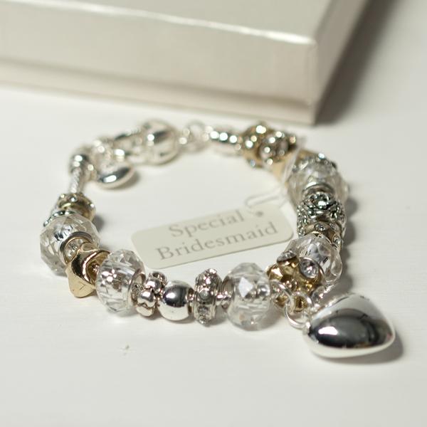 Bridesmaids Amore Silver/Gold Bead Charm Bracelet - Charm Bracelet Gifts