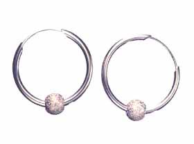 Diamond Ball on Hoop Earrings