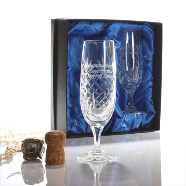 Pair Of Personalised  Cut Crystal Champagne Flutes Standard