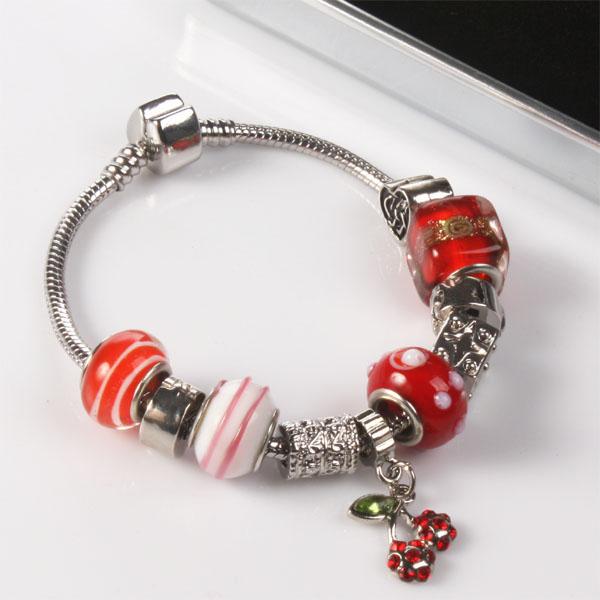 Ogle Charm Bracelet With Personalised Chrome Box - Cherry Design - Charm Bracelet Gifts