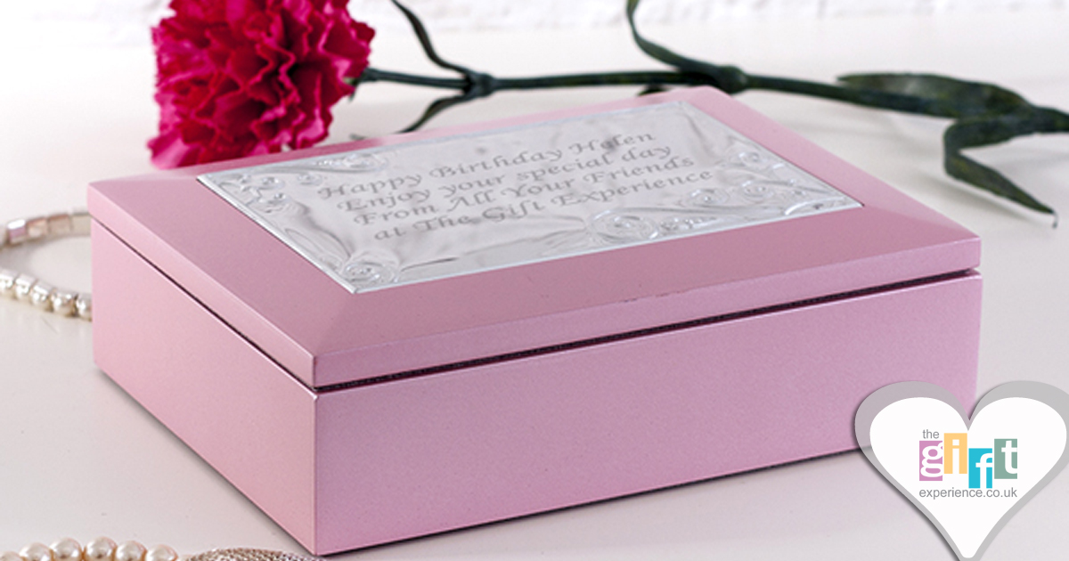 Pink Jewellery box with engraved plaque on top - Personalised Mother of the Groom gift