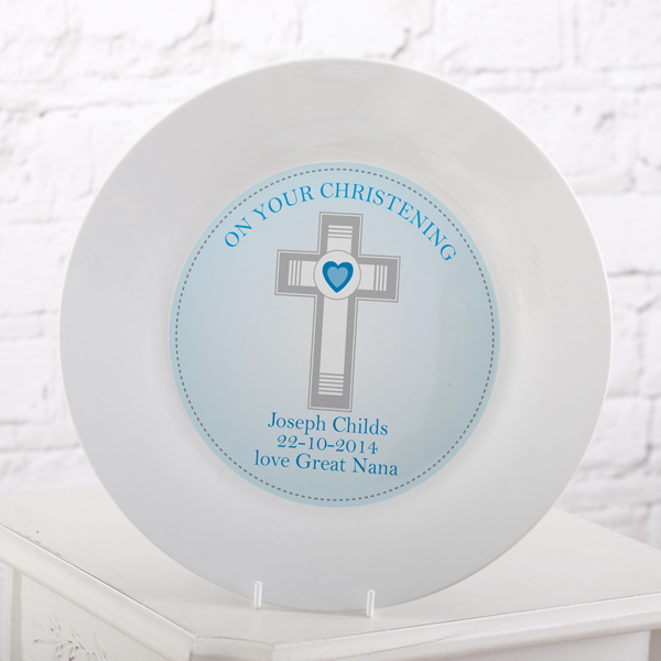 Personalised Christening Plate Blue