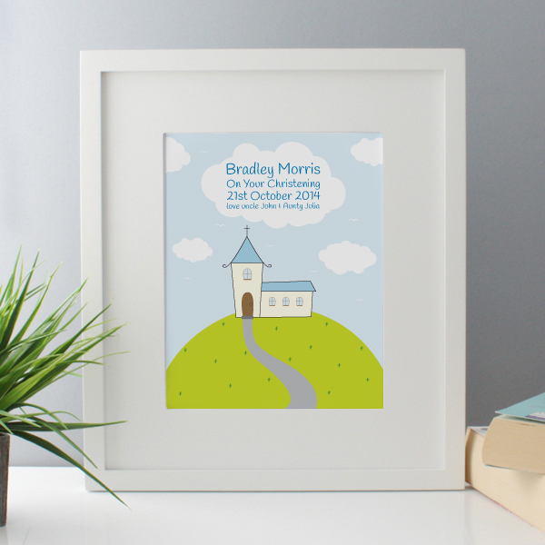 Personalised Boys Christening Framed Print - Christening Gifts