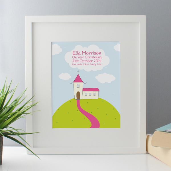 Personalised Girls Christening Framed Print - Baby  Birthday Your Baby Gifts - Girls Christening