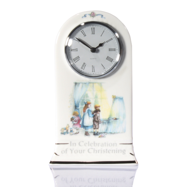 Personalised Christening Bone China Mantel Clock