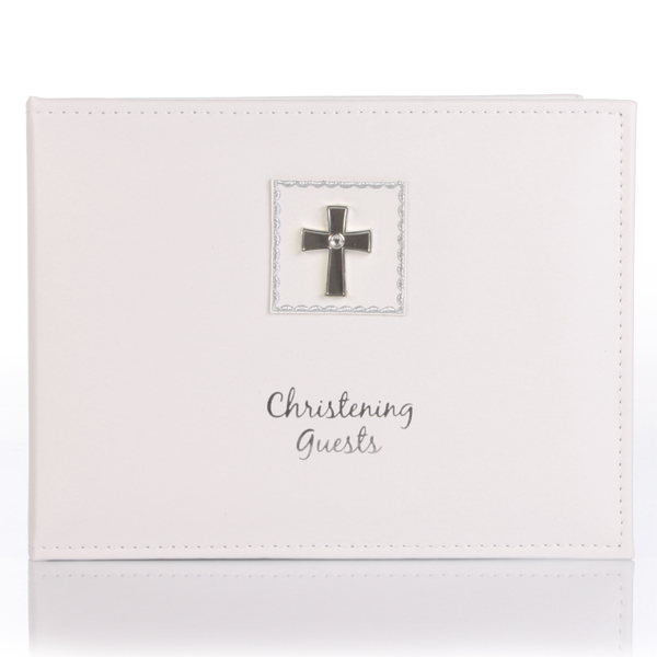 Diamond Cross Christening Guest Book - Christening Gifts
