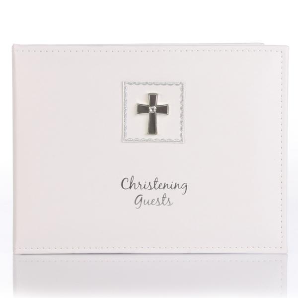 Diamond Cross Christening Guest Book - Christening Gifts