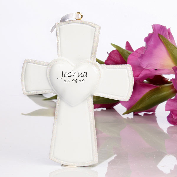 White Personalised Cross Hanging Ornament - Ornament Gifts