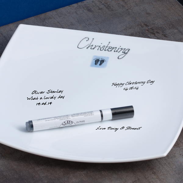 Christening Signature Plate - Blue