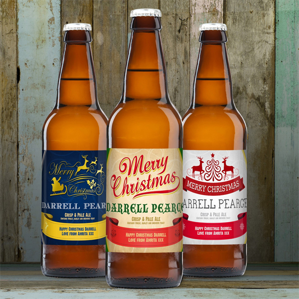 Personalised Beer Triple Pack  Christmas Design