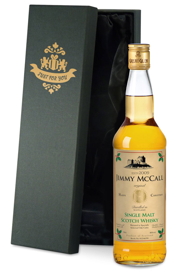 Personalised Christmas Malt Whisky Gold Gift Carton