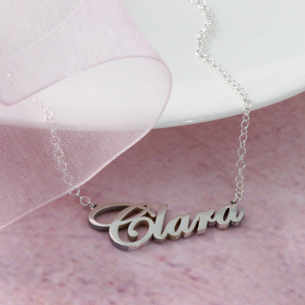 solid silver name necklace name up to 8 letters