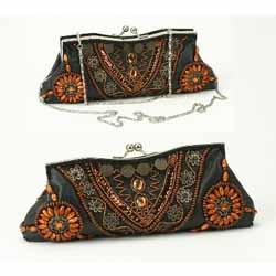 Black Beaded Sequin Clutch Bag