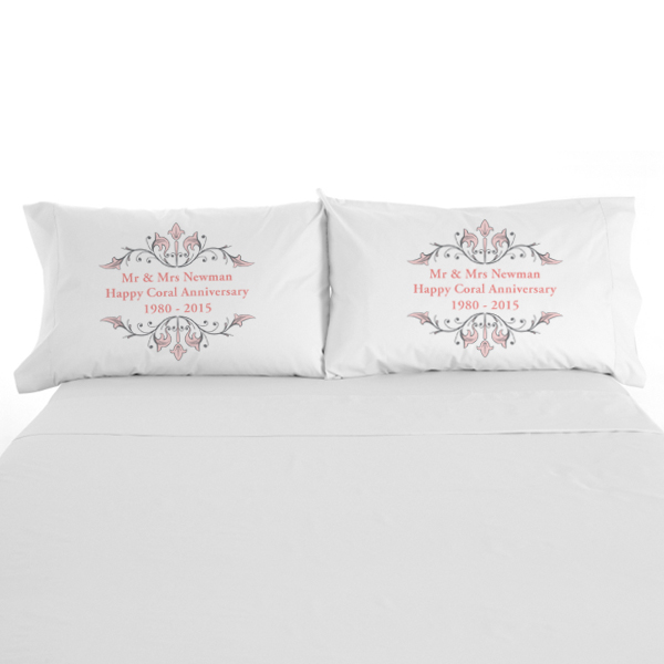 Personalised Coral Anniversary Pillowcases