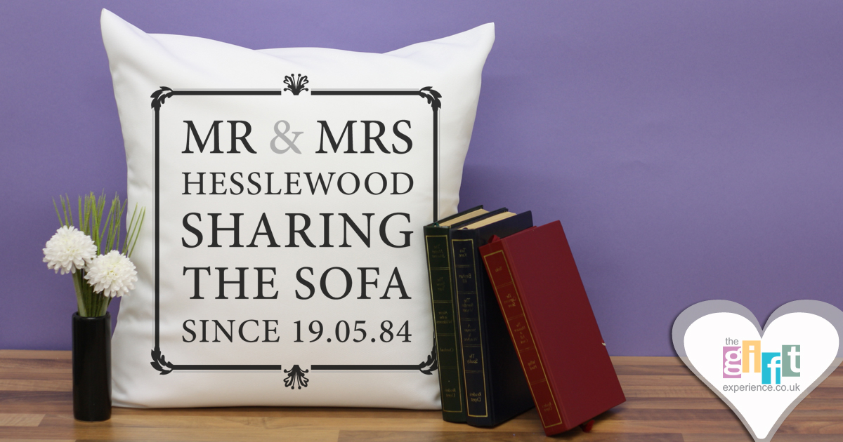 Mr & Mrs Sharing the sofa cushion - cotton anniversary gift