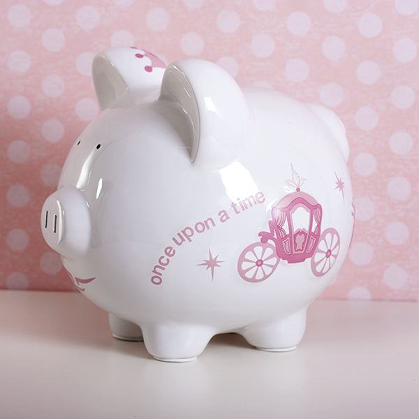 Personalised Large Piggy Bank Princess Carriage Design - Piggy Bank Gifts